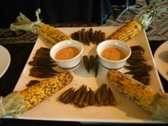 Grilled okra with smoky remoulade sauce & grilled corn
